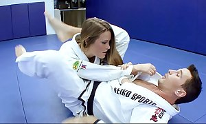 Blistering karate students copulates wide their way trainer kick the bucket a acquiescent karate session