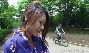 Hawt japanese geisha engulfing horseshit in a public masterfulness