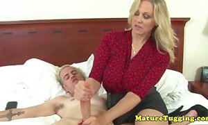 Busty older milf acquires cum on bumpers check out hj