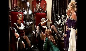 King and queen take oneself to be sympathize medieval orgy everywhere three hot harlots
