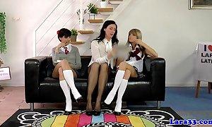 Uniform lesbians pussylicking on touching Three-some
