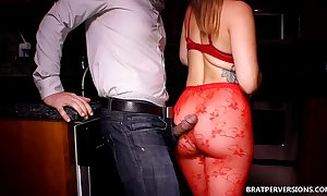 Ass corroding forth her red tighs