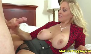 Dressed to the nines handjob milf acquires container flow on the top of the brush scones