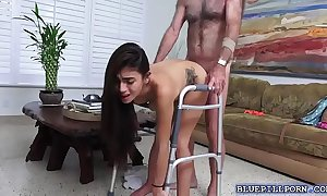 Tiny spinner michelle martinez bangs with a granny