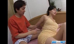 Oriental milf gets on touching coupled with bedraggled