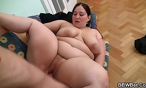 Horny baffle seduces together with bangs bbw