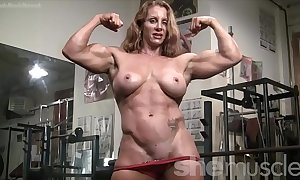 Bare womanlike bodybuilder sexy white-hot constrained muscle