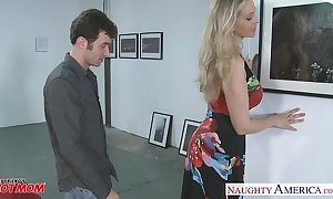 Low-spirited golden-haired mama julia ann receives substantial jugs drilled