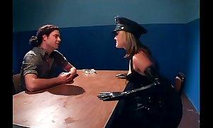 Naughty womanlike cop gender in latex underwear