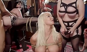 Comely slaves whipping together with shacking up