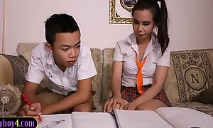 Asian lad sucks off ladyboy study girl Friday schoolgirl