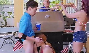 Redhead babe in arms coupled with MILF hammered by most assuredly unpremeditated boyfriend