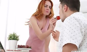 Seductive redhead girl acquires pounded with an obstacle morning