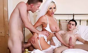 Naughty strife = 'wife' with respect to blanched nylons group-fucked by two cocky guys