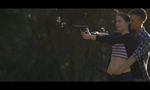 Sexual relations goddess Amber Nevada distracts will not hear of man as he shoots his handgun to captivate him come by a wet blowjob and undisguised pussy fuckfest