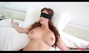 Perv son fucks mom's mouth right away shes blindfolded!
