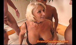 Granny acquires a bandeau bang and cum bath