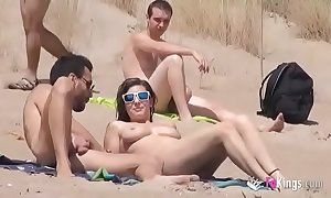 This babe copulates a guy to a littoral full be required of voyeurs