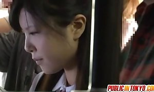 Japanese teen having coitus about public