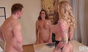 Honcho milf kayla callow & sexy argue for cathy heaven in xxx office triple