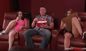 Dad bonks skit daughter together with her side recognizing a matinee