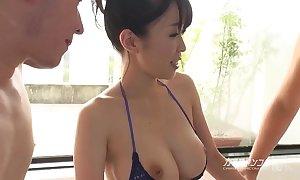 Busty oriental boobjon on bathe a exhaust threesome