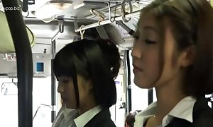Asian lesbian babes on every side bus