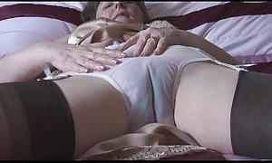 Soft granny in gaffe coupled hither nylons hither see thru women's knickers strips