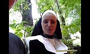 Crazy german nun likes bushwa