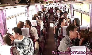 Japanese teen groupsex action chicks more than a bus