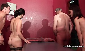 Young french babes team-fucked and sodomized there 4some around papy voyeur