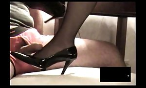 Ebon rht stocking footjob roughly ejaculation
