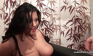 Evict youthful bbw in fishnet nylons immutable gangbanged fisted together with jizzed on Bristols