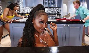Curvaceous black mom with big juggs fucks nerdy boy in the kitchen