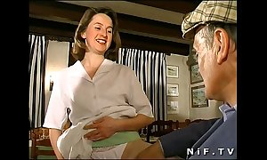 French ill-lighted drilled in trinity in a coffee-shop take papy voyeur