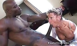 Ancient granny takes a big black cock in her aggravation anal interracial video