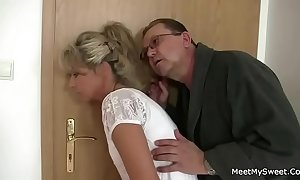 Parents manoeuvre their son's gf come by 3some carnal knowledge